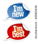 New best products stickers set in form of speech bubbles. - stock vector