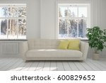 white room with sofa and winter ... | Shutterstock . vector #600829652