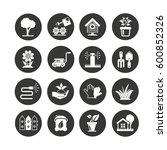 garden icon set in circle... | Shutterstock .eps vector #600852326