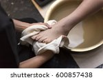 foot washing in spa before... | Shutterstock . vector #600857438
