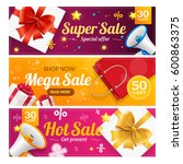 big sale banner card horizontal ... | Shutterstock .eps vector #600863375