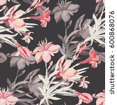 Stock photo seamless pattern bouquet of mediterranean urban flowers on a colored background 600868076
