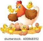 hen and chicks on nest... | Shutterstock .eps vector #600868352