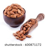 almonds in wooden bowl and... | Shutterstock . vector #600871172