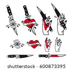 vector traditional tattoo style ... | Shutterstock .eps vector #600873395