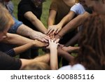 group of people holding hand... | Shutterstock . vector #600885116