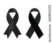 black ribbon on white background | Shutterstock .eps vector #600892355