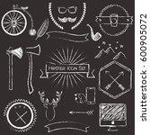 vector hipster icons chalkboard ... | Shutterstock .eps vector #600905072