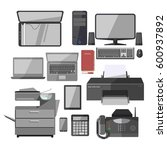 office equipment and manager... | Shutterstock .eps vector #600937892