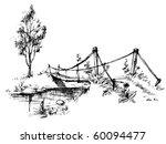 landscape with suspended bridge ... | Shutterstock .eps vector #60094477