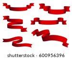 red glossy ribbon vector... | Shutterstock .eps vector #600956396