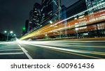 the light trails on the modern... | Shutterstock . vector #600961436