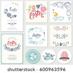 easter templates with eggs ... | Shutterstock .eps vector #600963596
