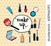 hand drawn make up cosmetic... | Shutterstock .eps vector #600966392