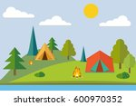 summer camp. camping in the... | Shutterstock .eps vector #600970352