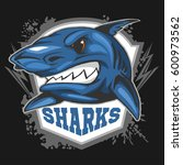 mascot sharks   emblem for a... | Shutterstock .eps vector #600973562