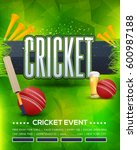 cricket event poster background ... | Shutterstock .eps vector #600987188