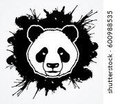 Panda Head Face Front View...