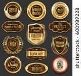 golden badges and labels... | Shutterstock .eps vector #600989228