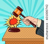 pop art judge hitting wooden... | Shutterstock .eps vector #601000742