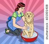 Pop Art Happy Woman Washing...