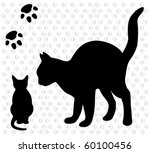 Stock vector a cat with a kitten 60100456