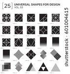 set 25 universal geometric... | Shutterstock .eps vector #601004615