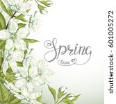 blooming branch of sakura and... | Shutterstock .eps vector #601005272