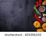 pasta spaghetti with... | Shutterstock . vector #601006142