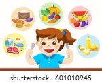 a cute girl with the five food... | Shutterstock .eps vector #601010945