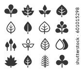leaf icons set on white... | Shutterstock .eps vector #601015298