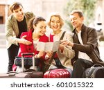 happy positive family of four... | Shutterstock . vector #601015322
