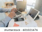 business man working by... | Shutterstock . vector #601021676