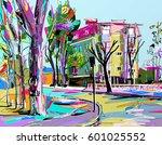 digital painting   irpen street ... | Shutterstock .eps vector #601025552