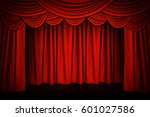 red curtains and wooden stage... | Shutterstock . vector #601027586