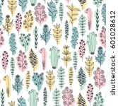 seamless vector floral pattern  ... | Shutterstock .eps vector #601028612