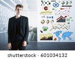 handsome european guy in suit... | Shutterstock . vector #601034132