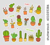linear design  potted cactus.... | Shutterstock .eps vector #601035386