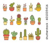 linear design  potted cactus.... | Shutterstock .eps vector #601035416