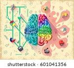 cartoon human brain diagram... | Shutterstock .eps vector #601041356