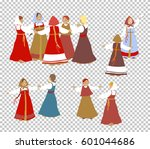 russian girls in traditional... | Shutterstock .eps vector #601044686