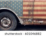 usa flag on old car. retro....
