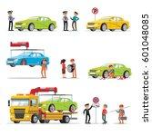car evacuation elements set... | Shutterstock .eps vector #601048085