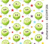 cabbage  vector seamless... | Shutterstock .eps vector #601049186