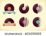 vintage vinyl records labels...   Shutterstock .eps vector #601050005