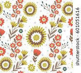 pattern with cute flowers. can... | Shutterstock .eps vector #601051616