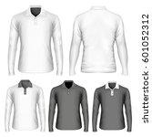 men's long sleeve polo shirt.... | Shutterstock .eps vector #601052312