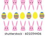easter bunny and easter eggs... | Shutterstock .eps vector #601054406