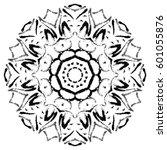 black mandala on white... | Shutterstock .eps vector #601055876