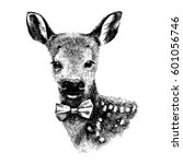 hand drawn baby deer hipster on ... | Shutterstock .eps vector #601056746
